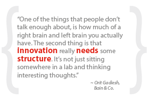 """One of the things that people don't talk enough about, is how much of a right brain and left brain you actually have. The second thing is that innovation really needs some structure. It's not just sitting somewhere in a lab and thinking interesting thoughts."""
